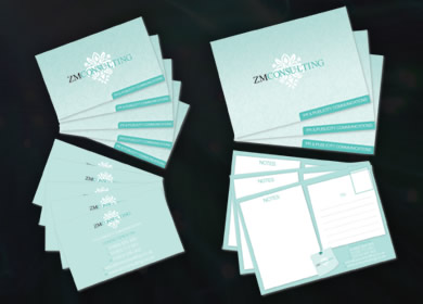 ZM Consulting  Business Card & Postcard Designs